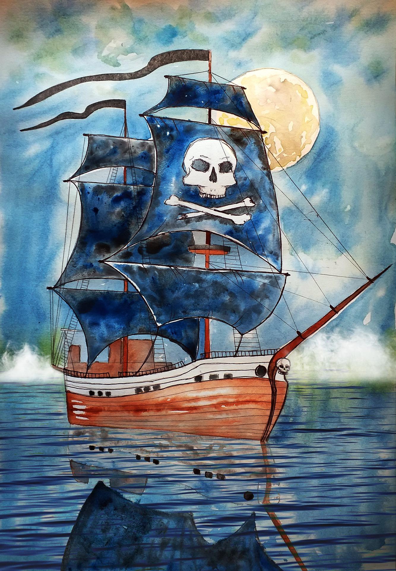 Das Bild zeigt ein Piratenschiff mit Klabauterflagge.